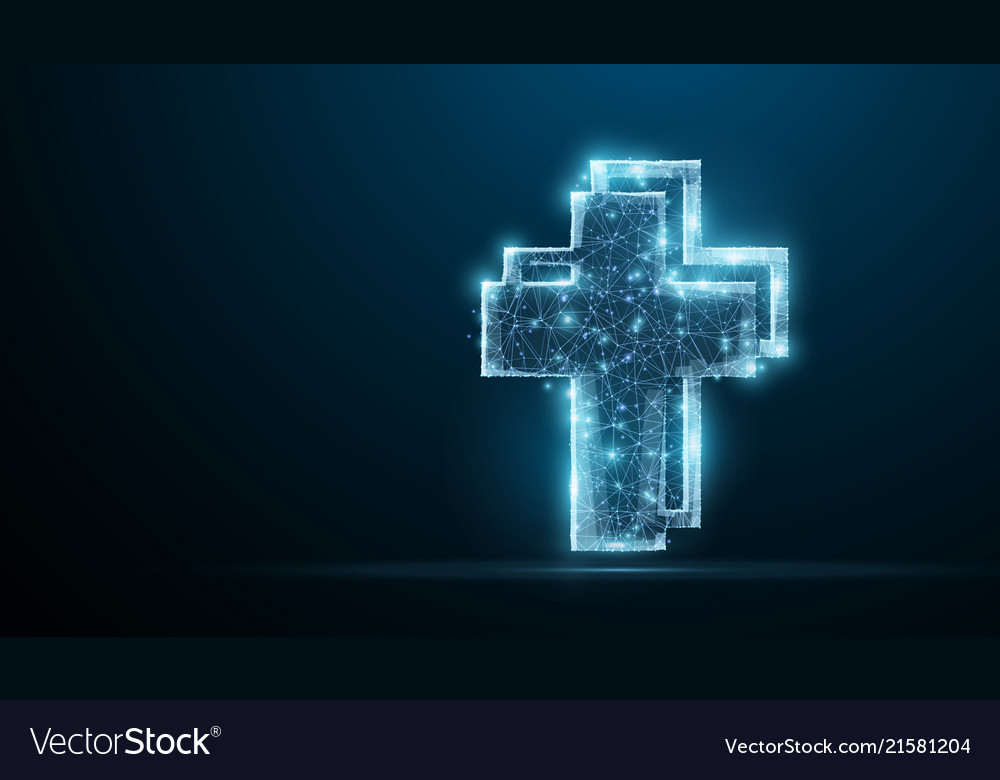 Cross polygonal wireframe jesus christ cross on