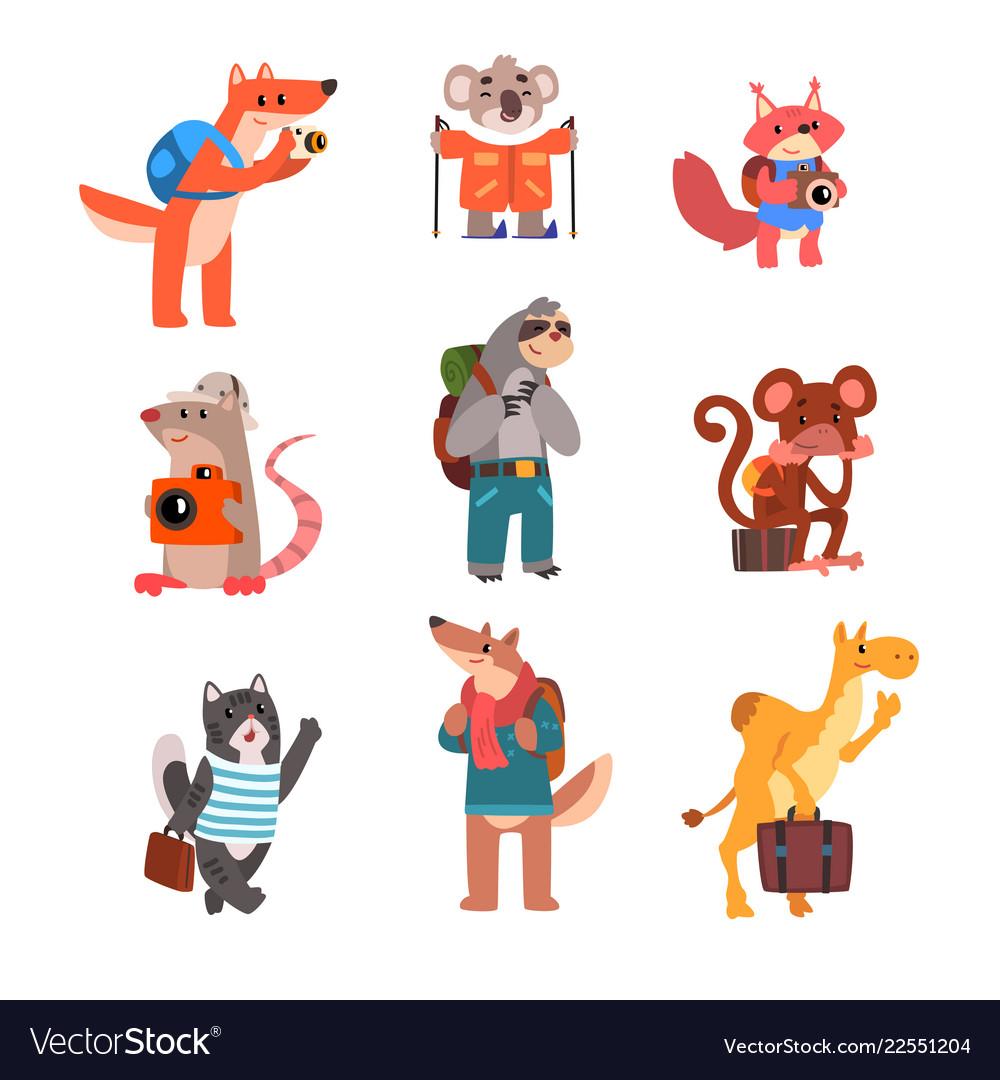 Cute animals traveling set wild animals cartoon