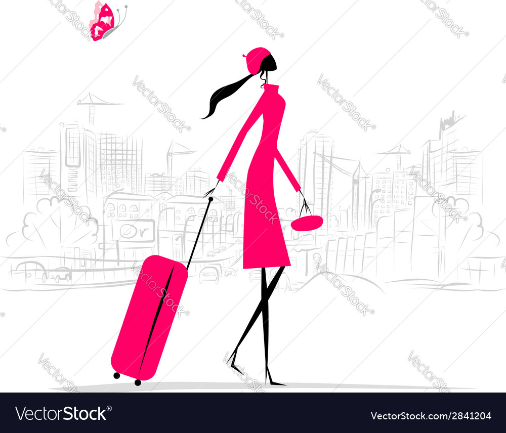 Fashion woman with suitcase cityscape background