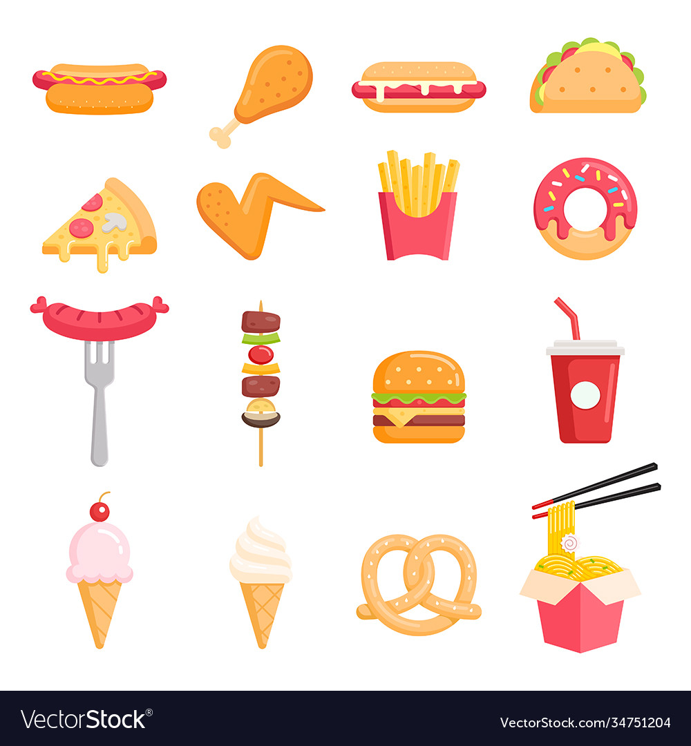 Fast food color icons