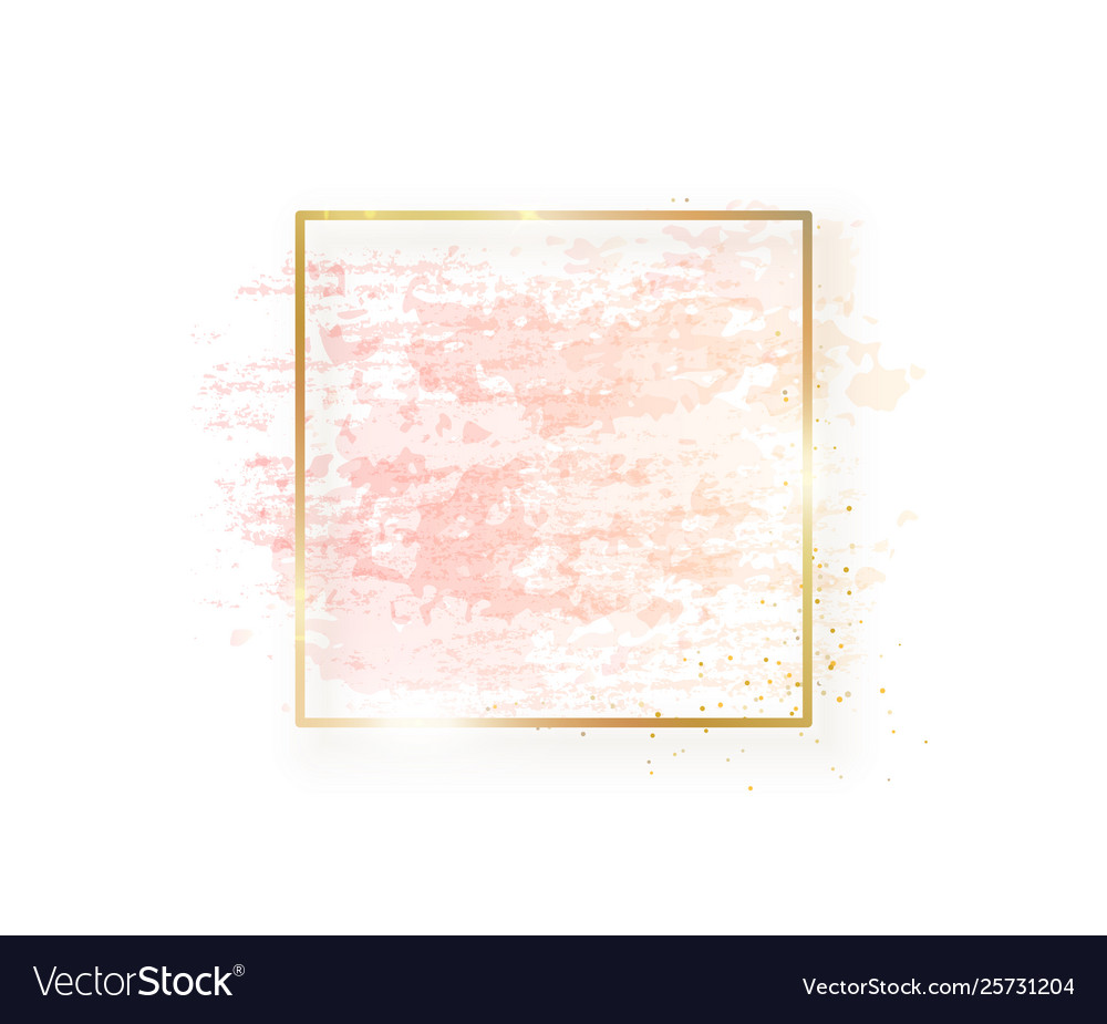 Gold square frame with pastel nude pink texture