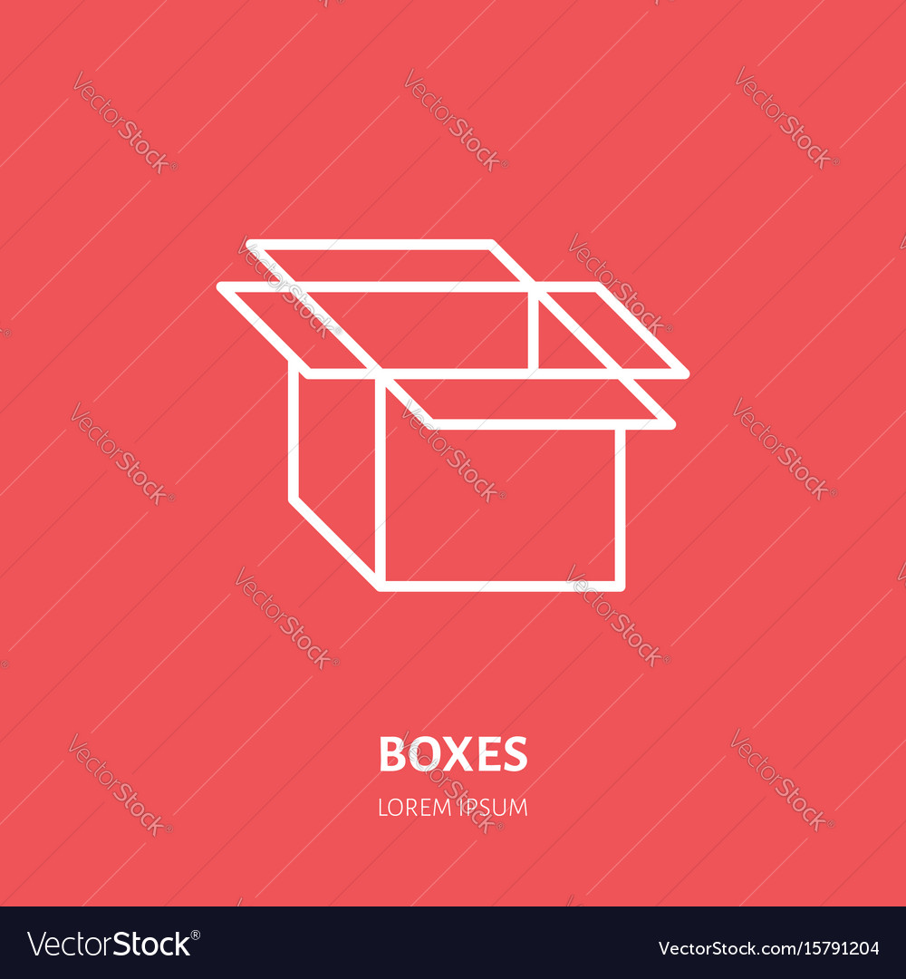 Open box flat icon cardboard product vector image