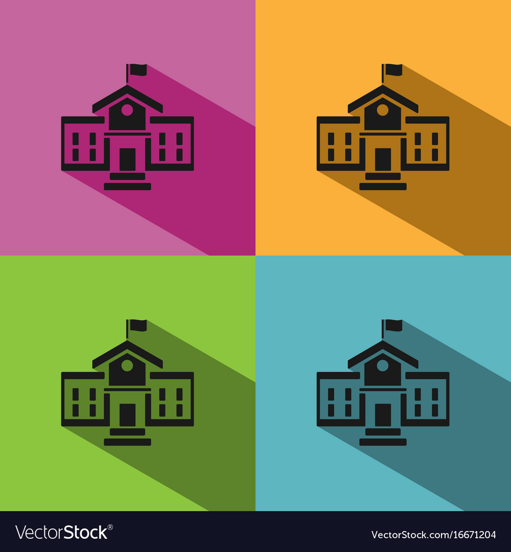 School building icon with shadow on colored
