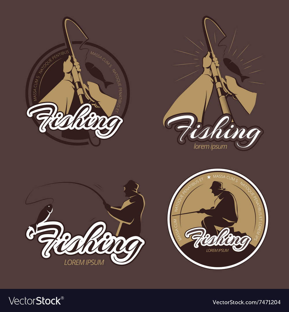 Vintage fishing club emblems and labels