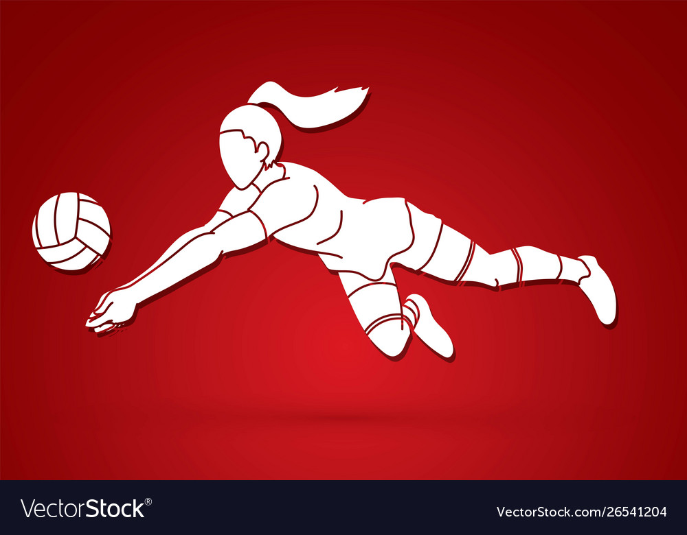 Woman volleyball player action cartoon graphic