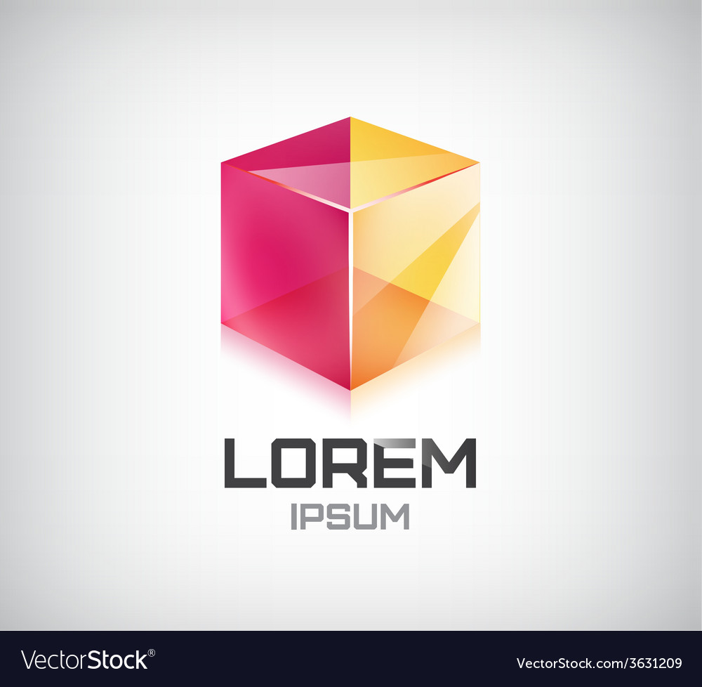 Abstract 3d cube construction logo