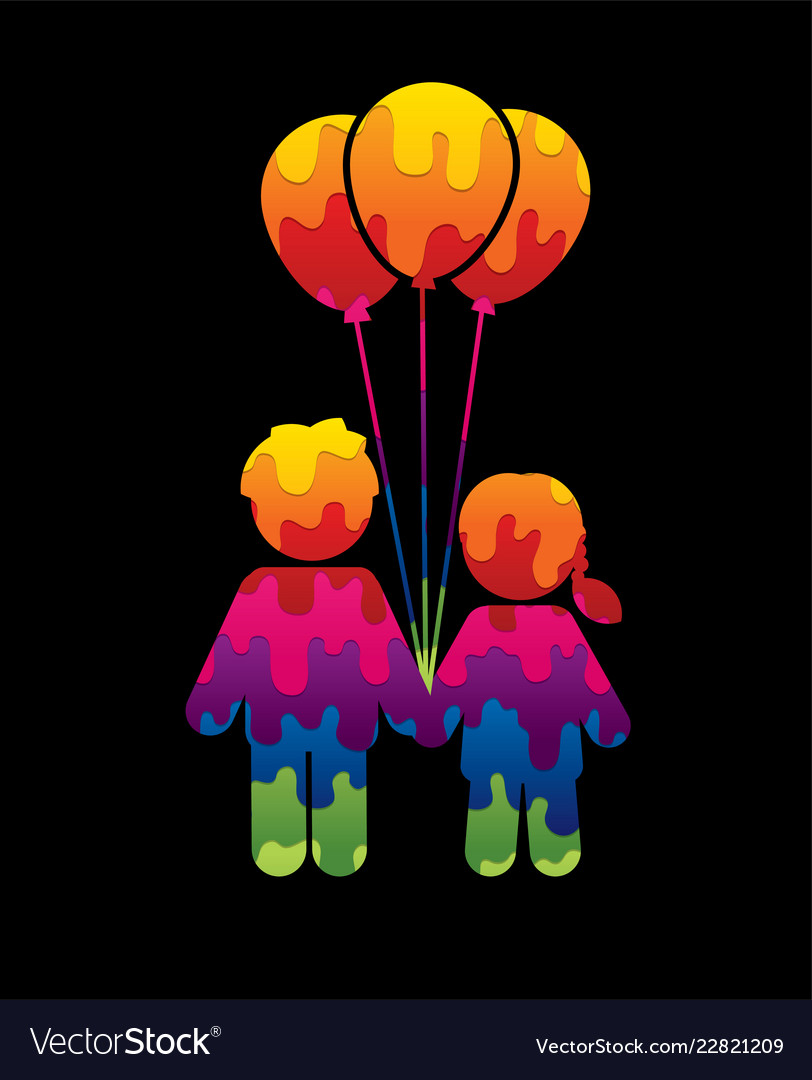 Children icon couple icon with balloons