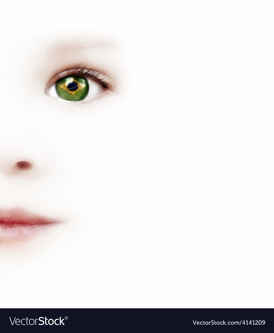 Childs Face And One Eye With The Brazilian Flag