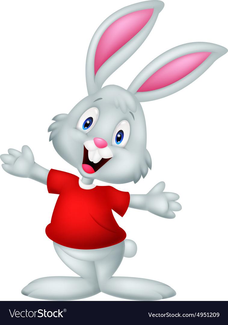 Cute happy baby rabbit cartoon Royalty Free Vector Image