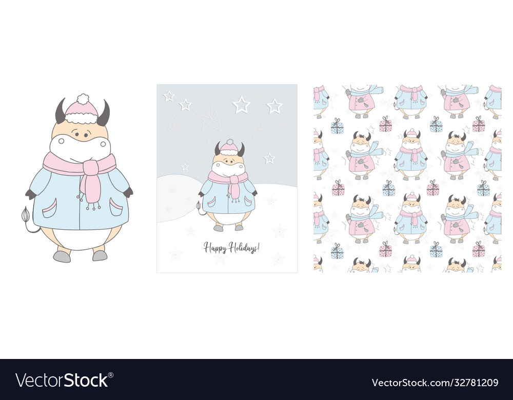 Cute ox in a scarf winter hand drawn cards