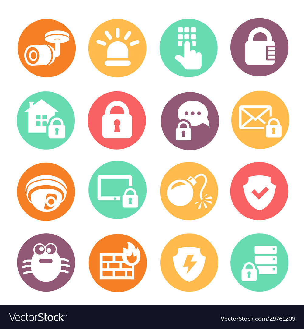 Data information protection web security icons