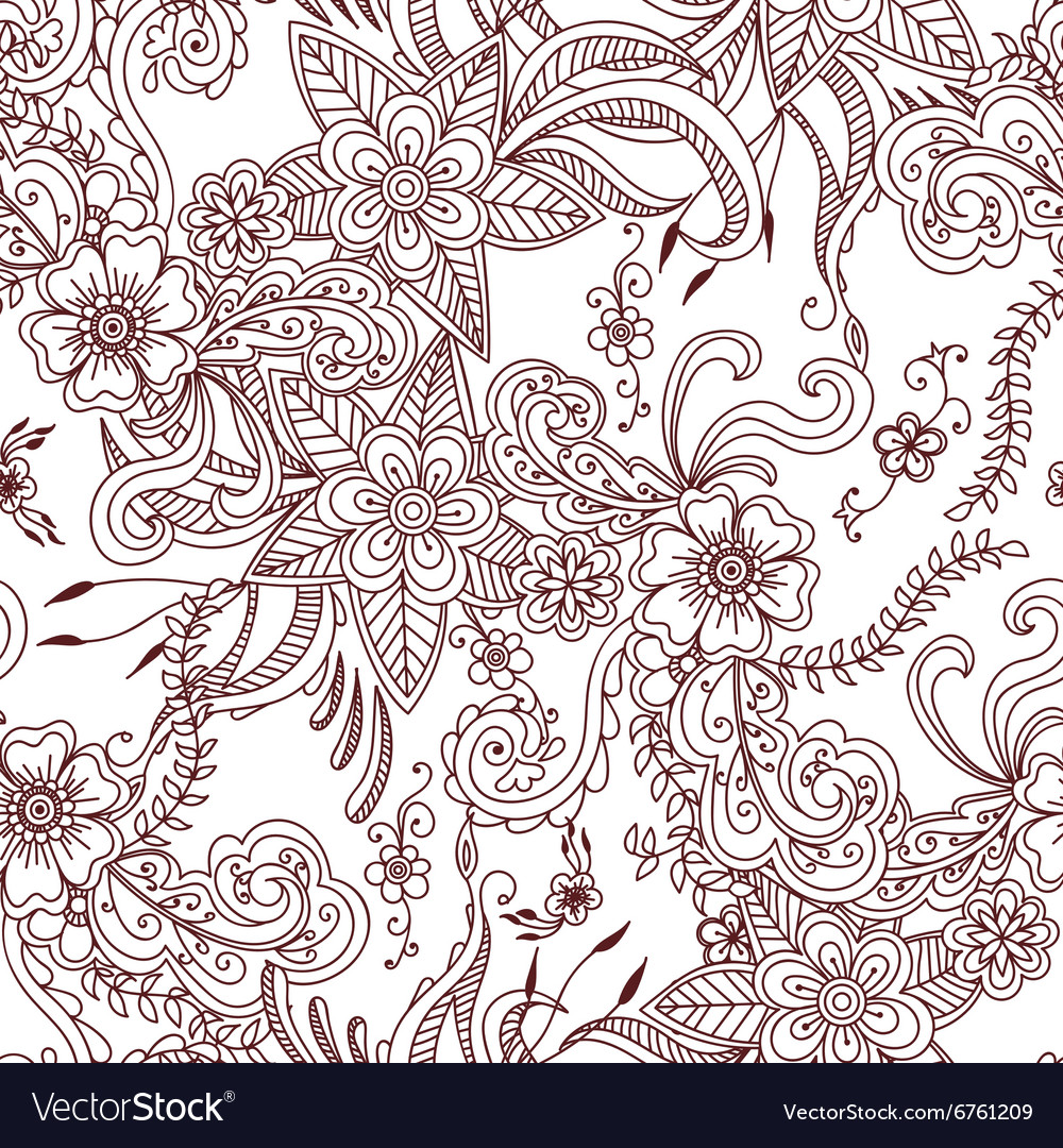 Floral hand drawn seamless pattern background