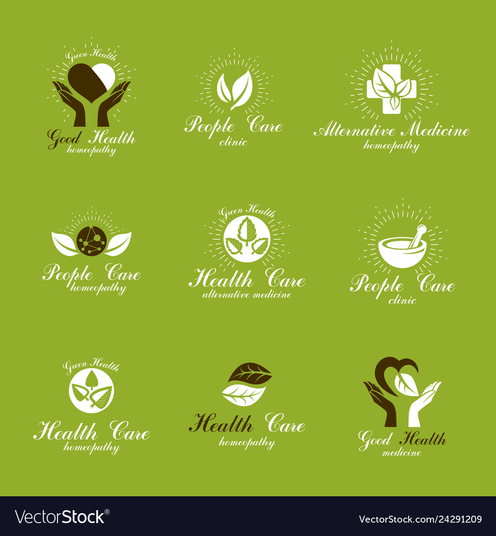 Homeopathy Creative Symbols Collection Restoring Vector Image
