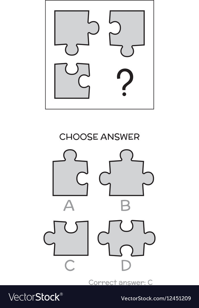 IQ test Logical tasks composed of puzzles shapes