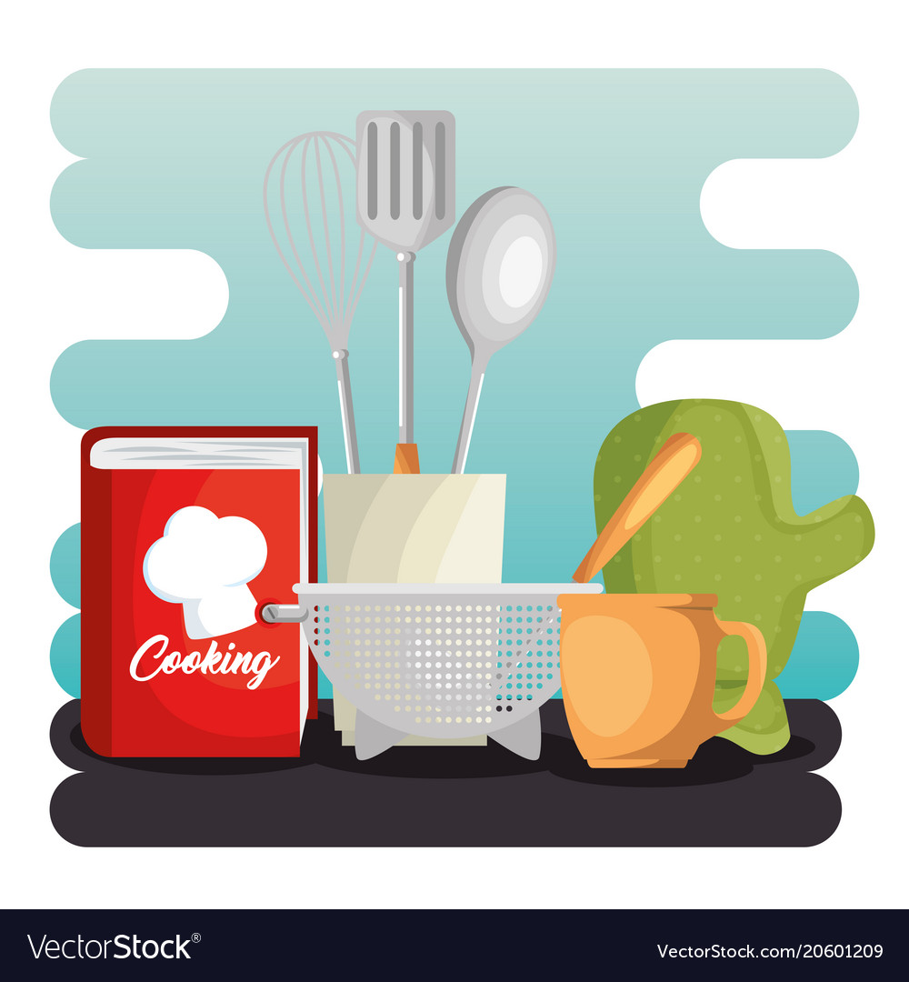 Kitchen set utensils icons Royalty Free Vector Image
