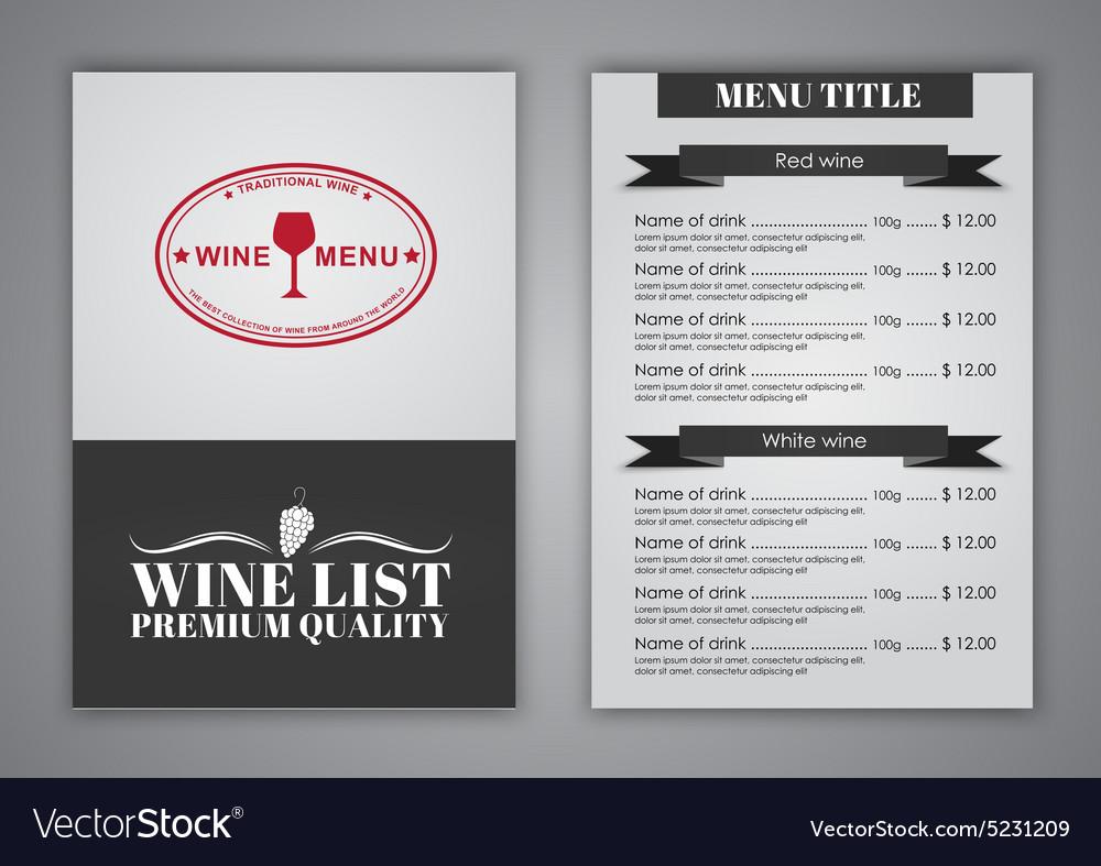 Menu design for wine cafes restaurants