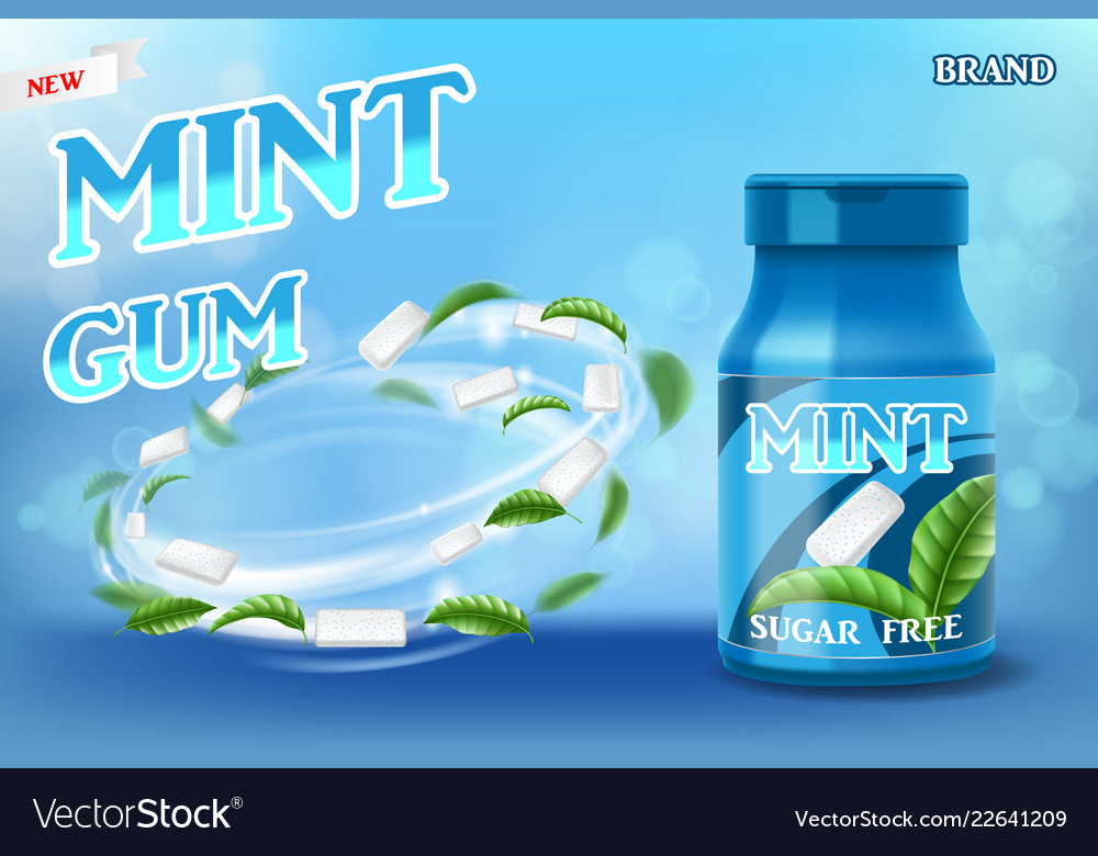 Realistic Mint Gum Poster Ads For Your Design Gum Vector Image