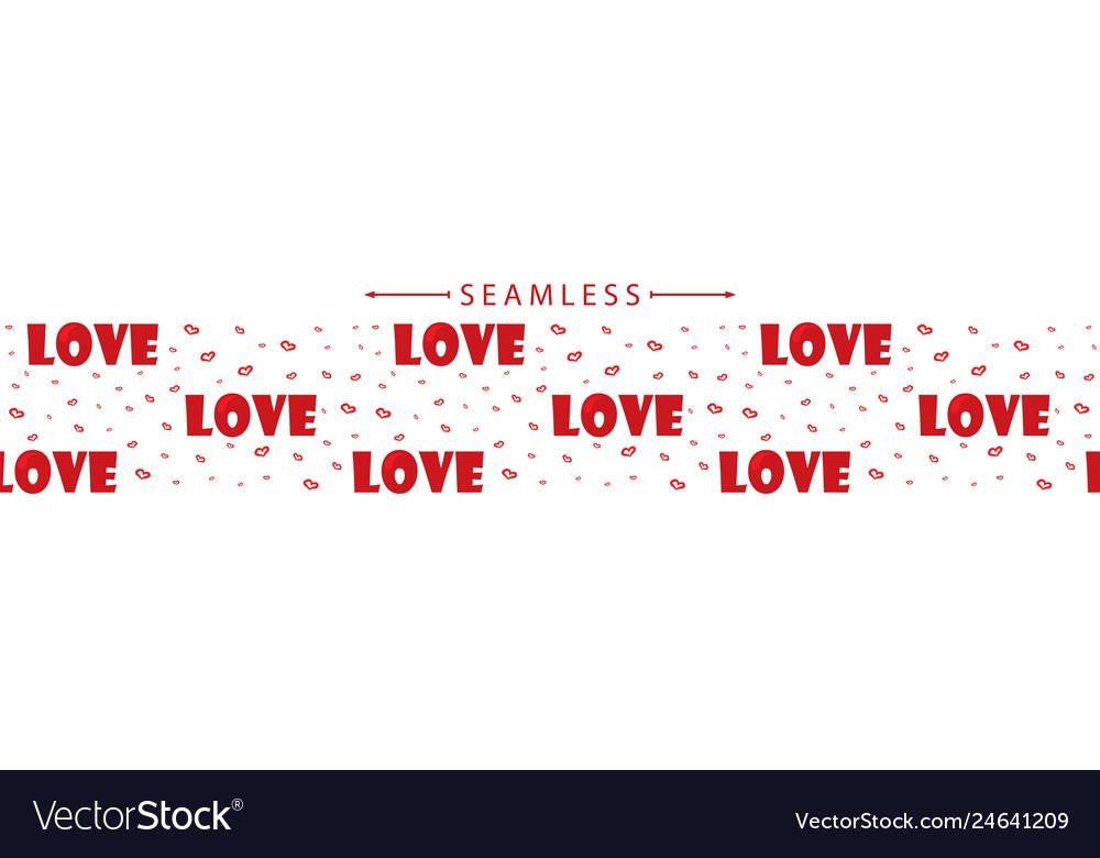Romantic horizontal seamless border with hearts