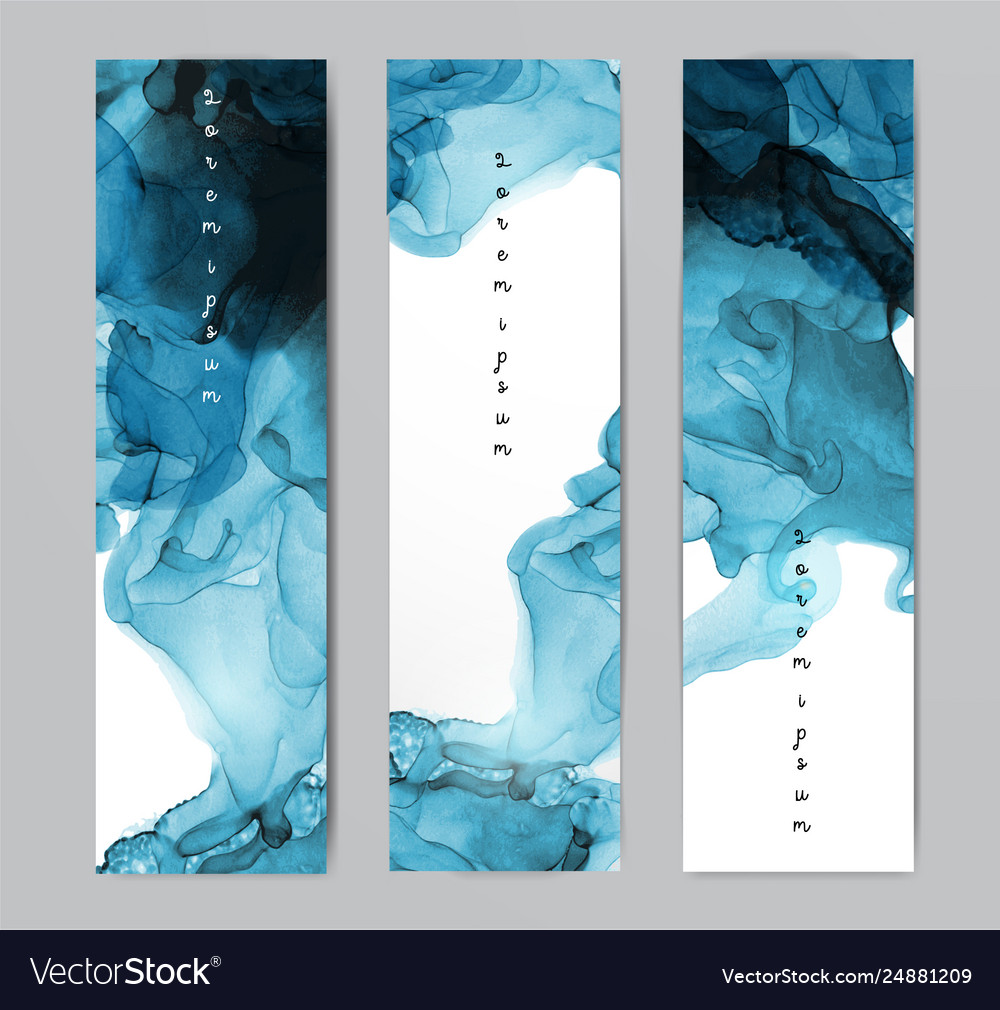 Three blue banners with abstract alcohole ink