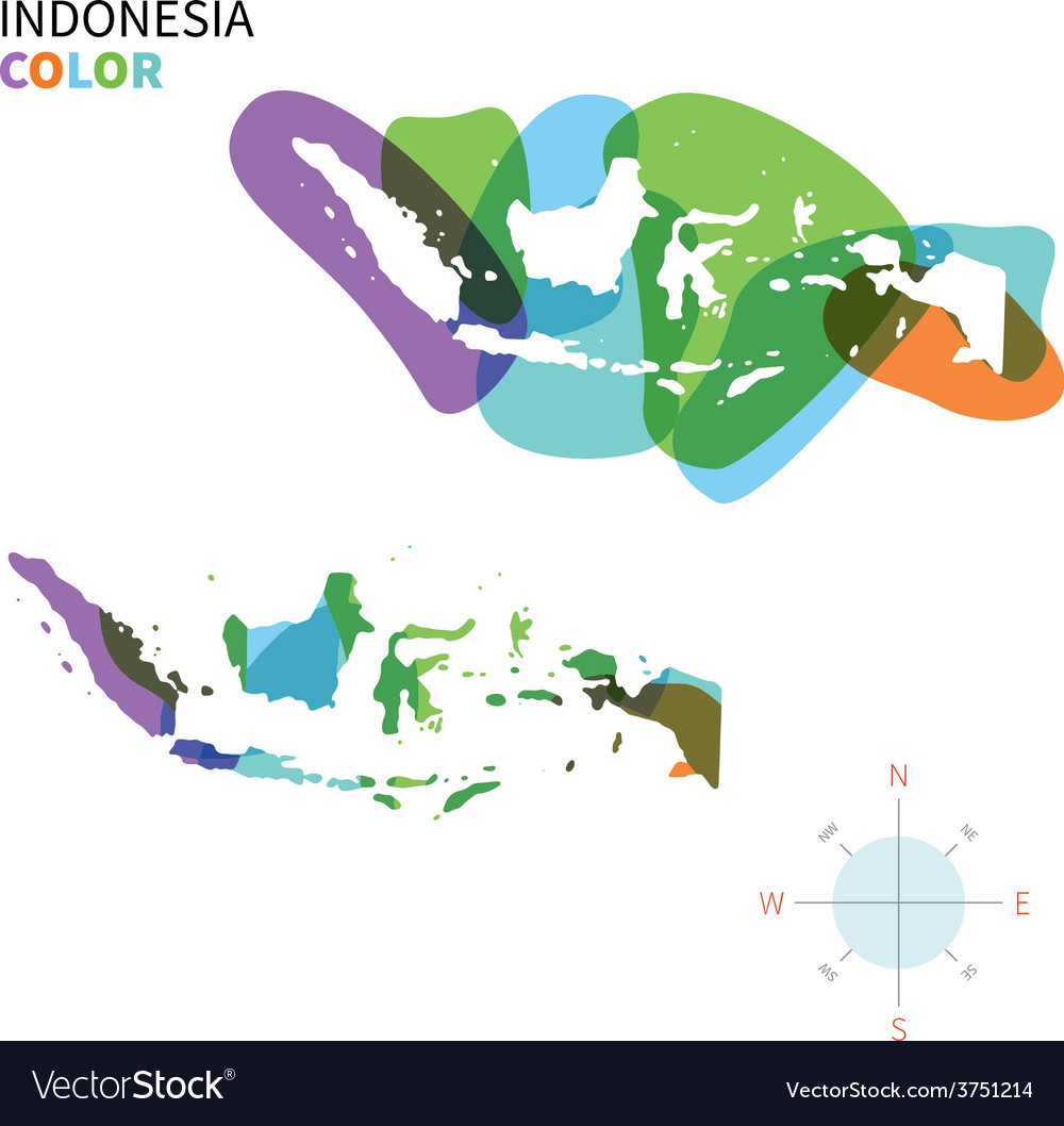 Abstract color map of Indonesia