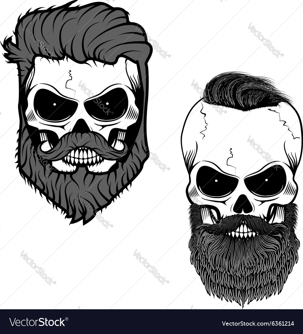 Beard Skull Royalty Free Vector Image Vectorstock