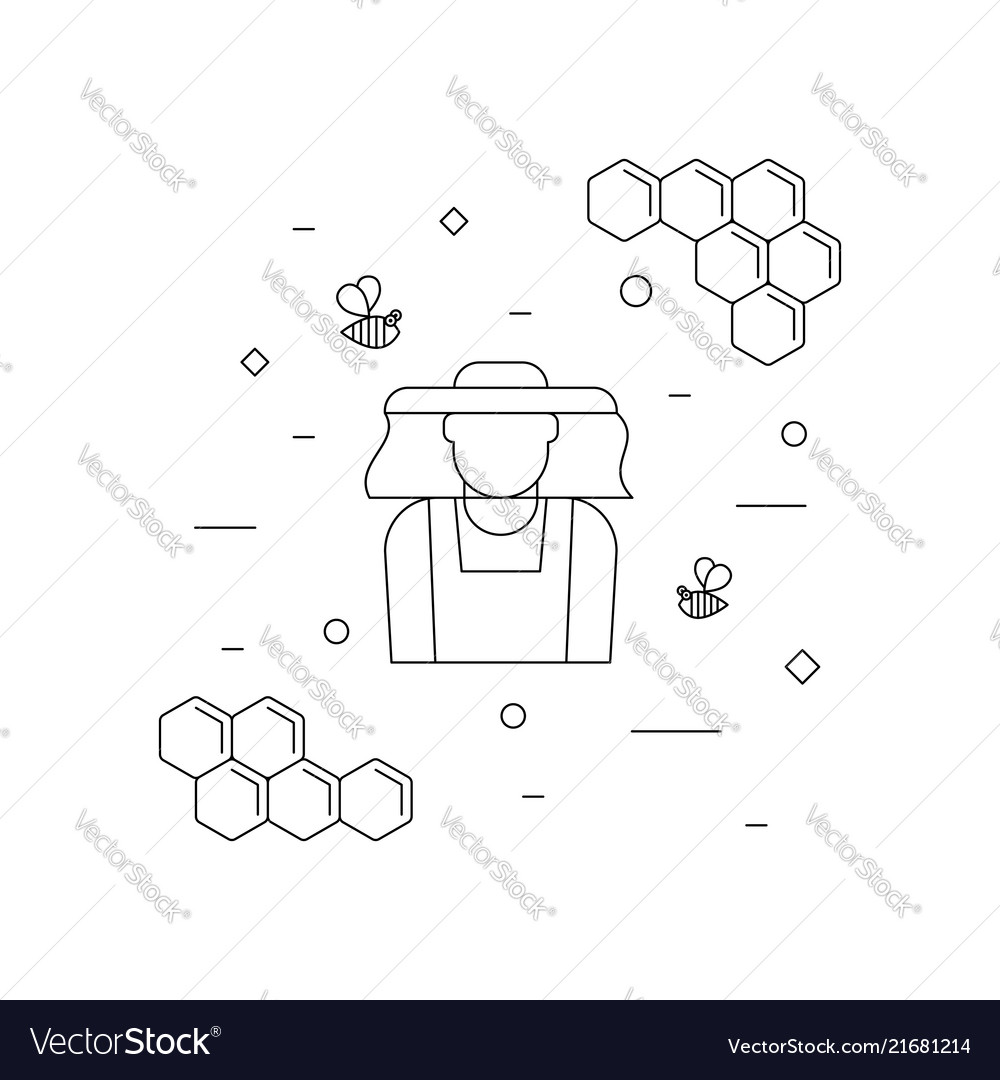 Beekeeper and bees linear icon