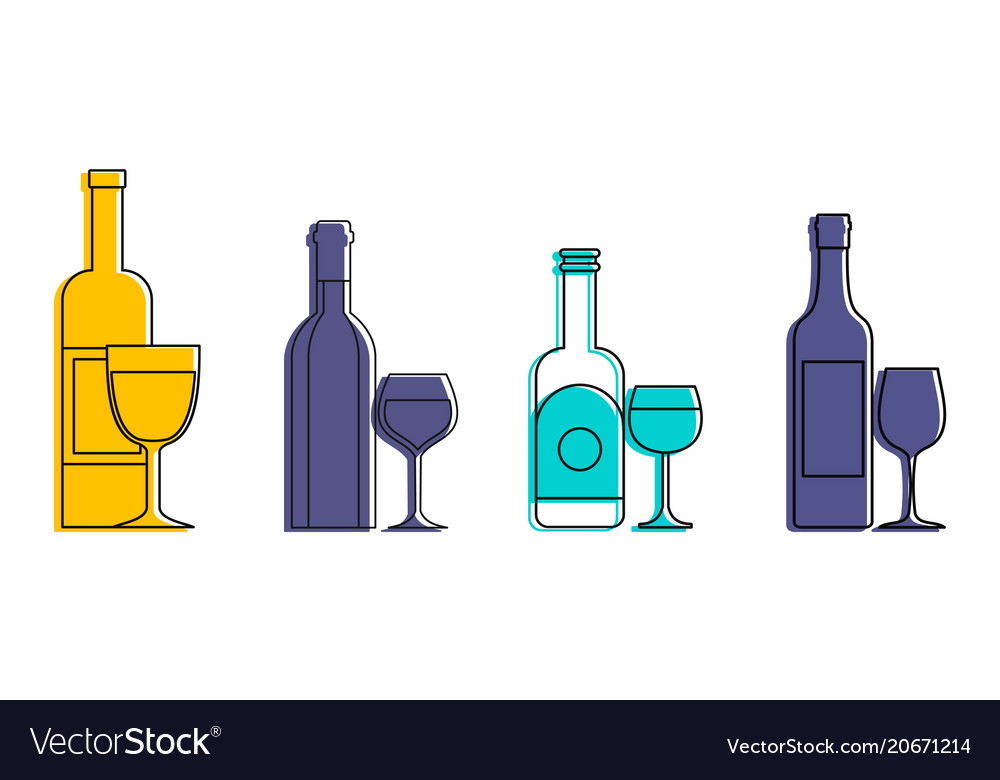 Bottle glass icon set color outline style