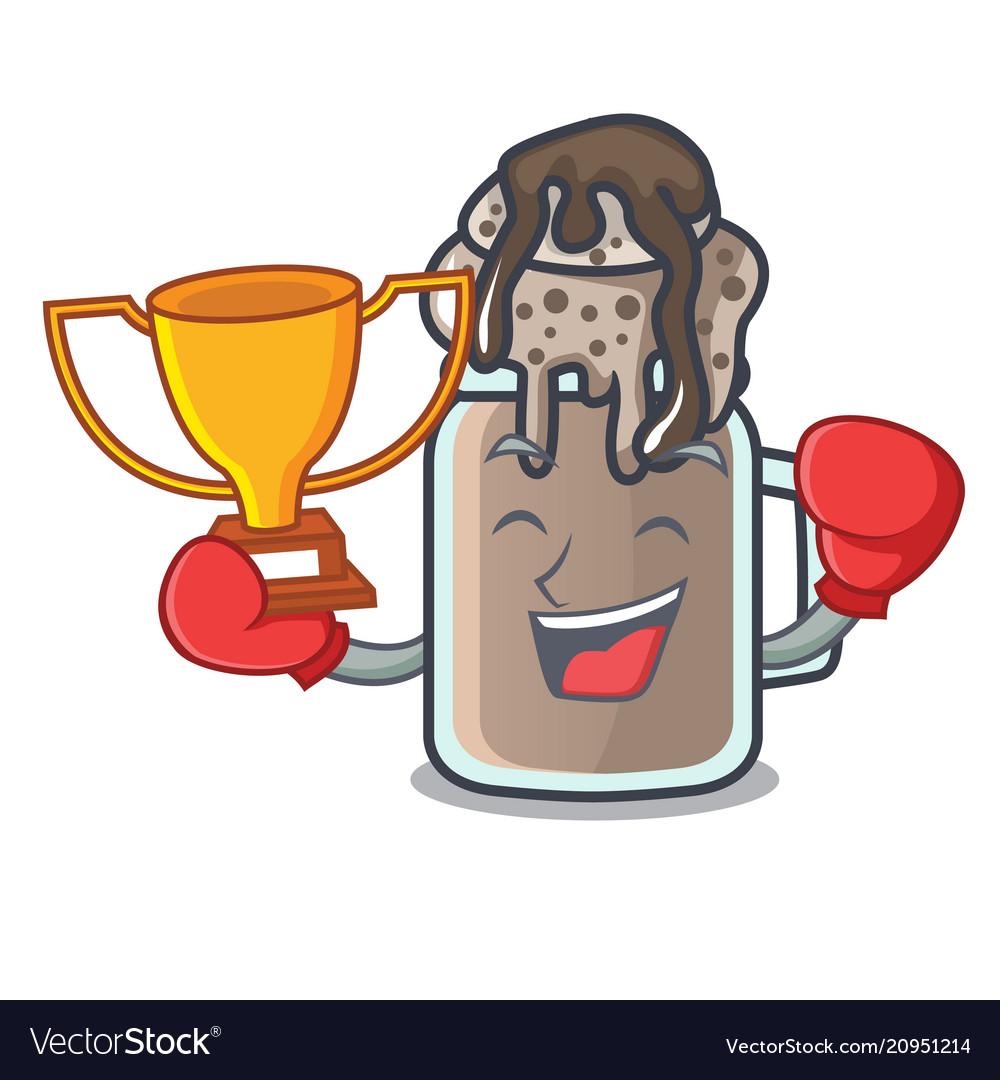 Boxing winner milkshake mascot cartoon style