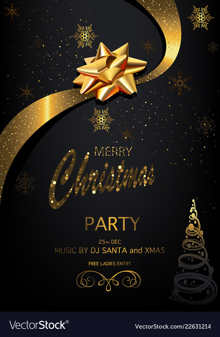 Christmas party invitation on black background