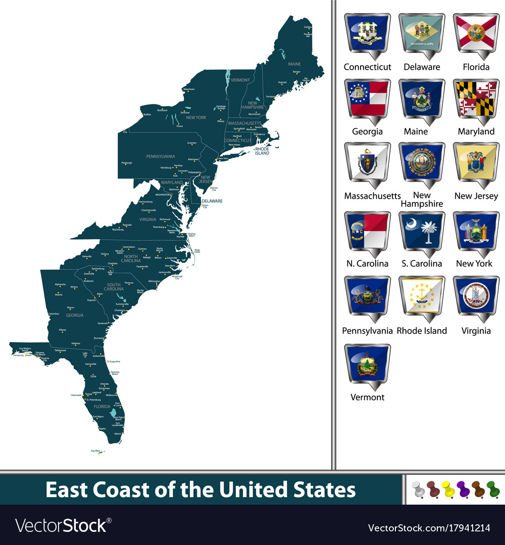 East Coast Of The United States Royalty Free Vector Image
