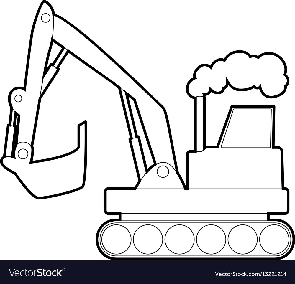 Excavator Icon Outline Style Vector Image