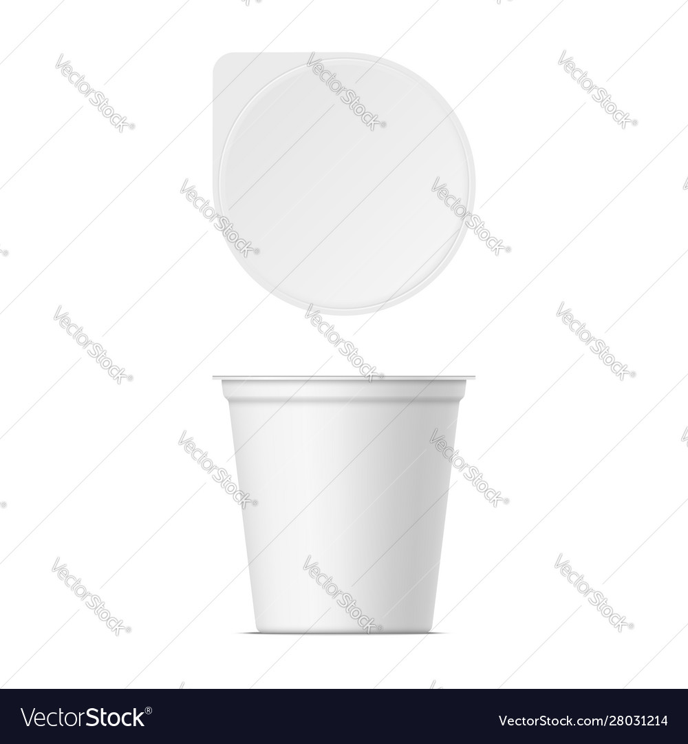 Mockup plastic yogurt container with lid