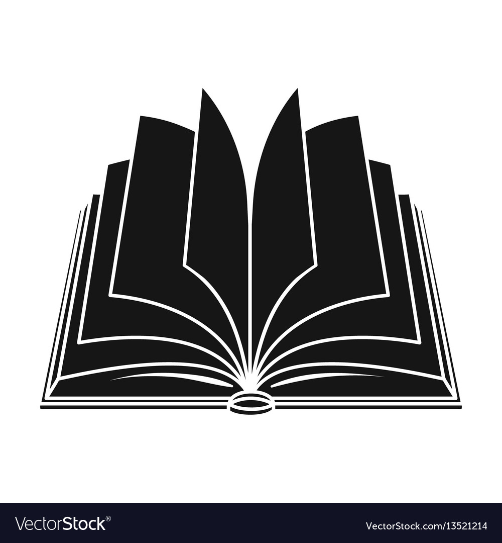 Opened book icon in black style isolated on white