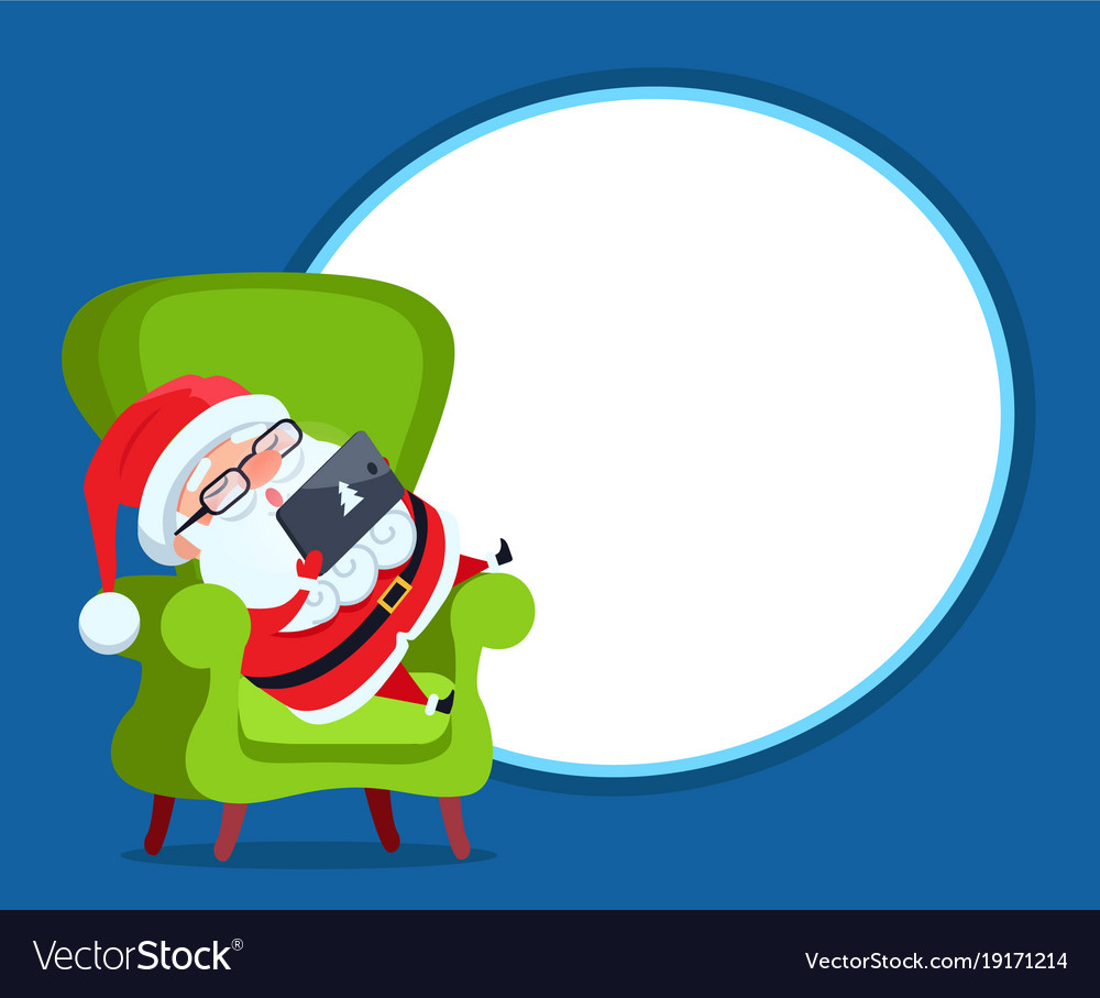 Photo frame with santa claus resting in armchair