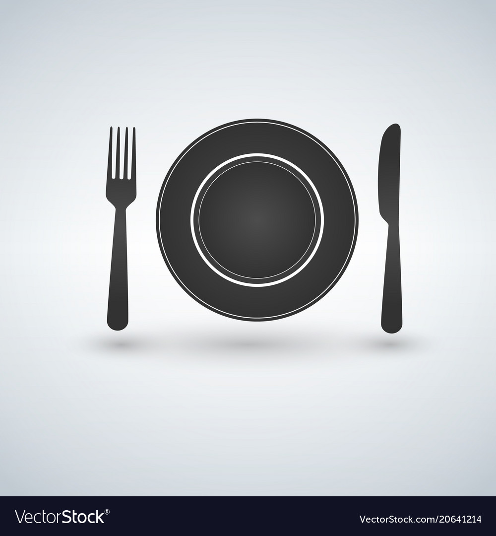 Place setting with plate knife and fork vector image & Place setting with plate knife and fork Royalty Free Vector