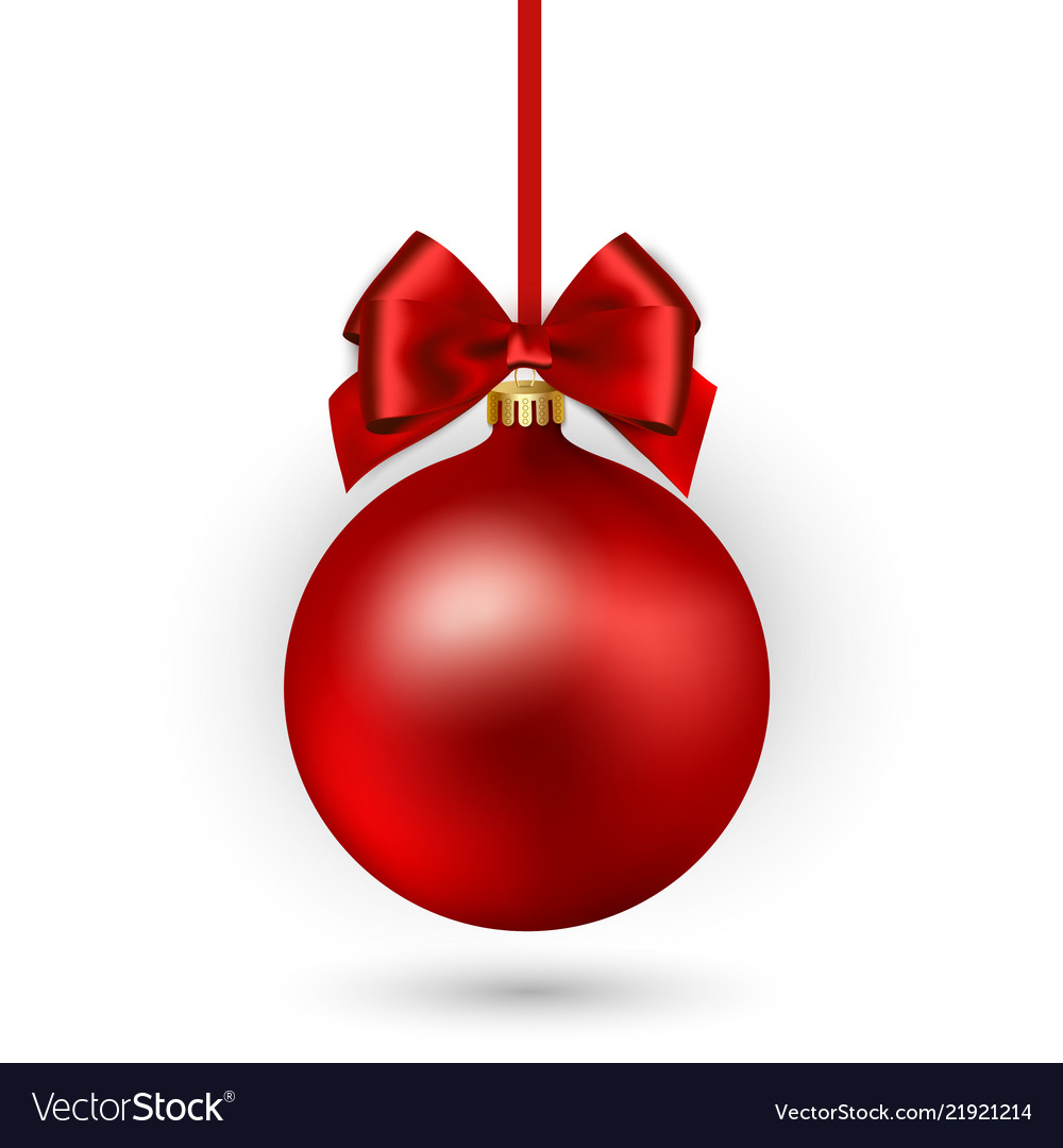 Red Christmas Ball Ornaments.Red Christmas Ball With Ribbon And Bow On White