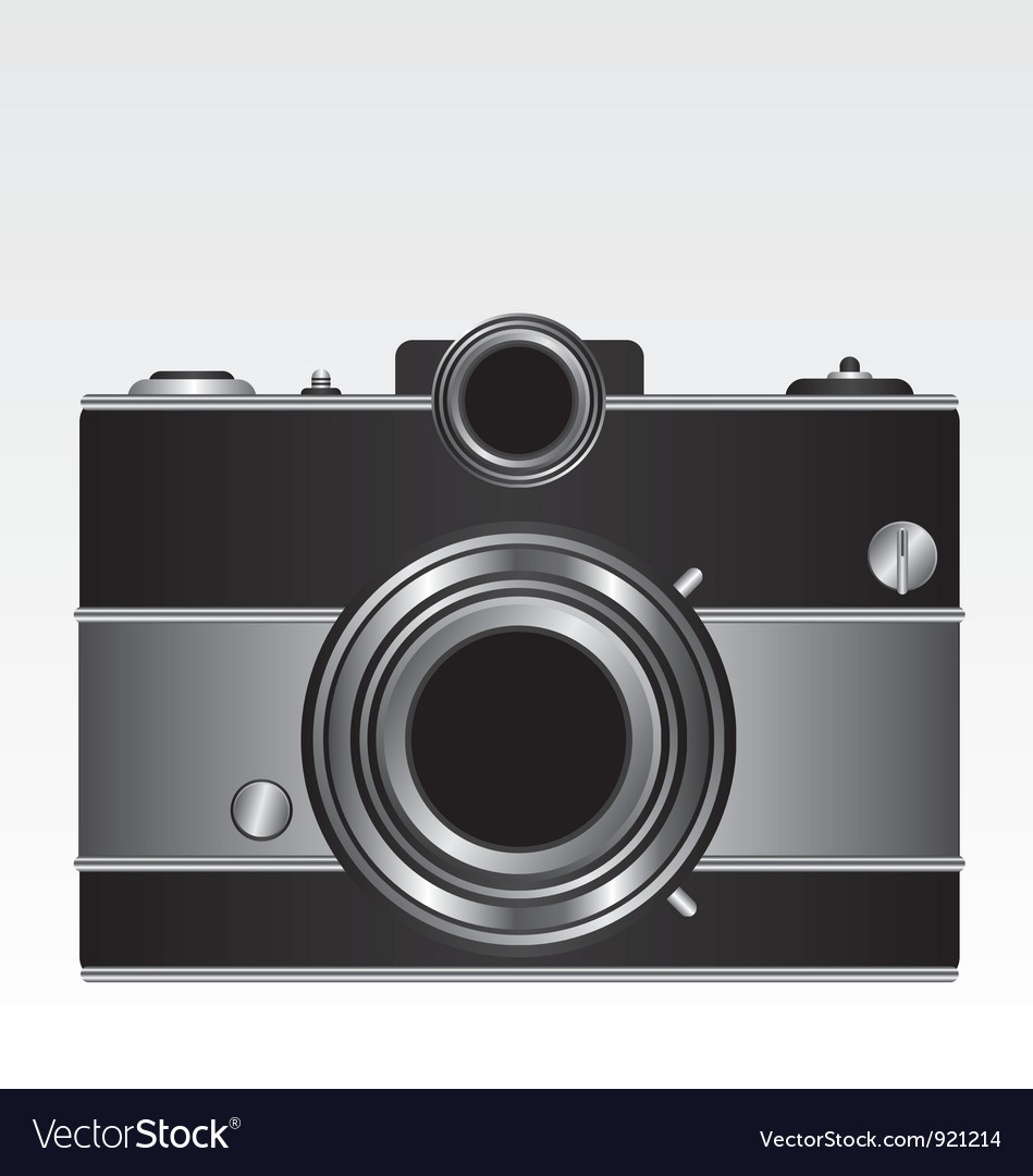 Retro black camera vector image