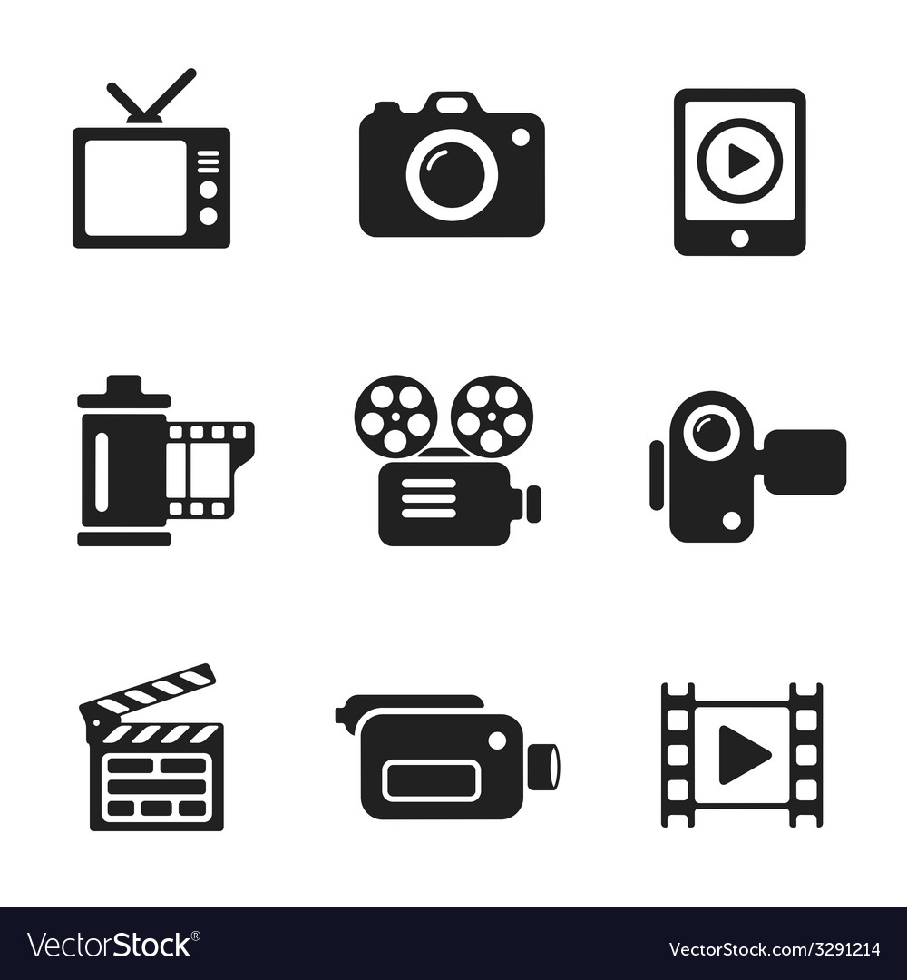 Set computer icons of photo and video