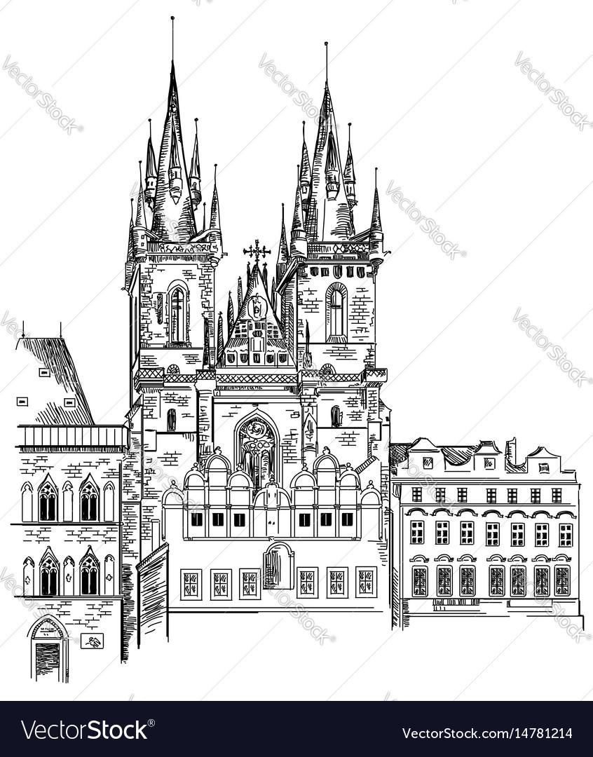 Tyn church in prague vector image