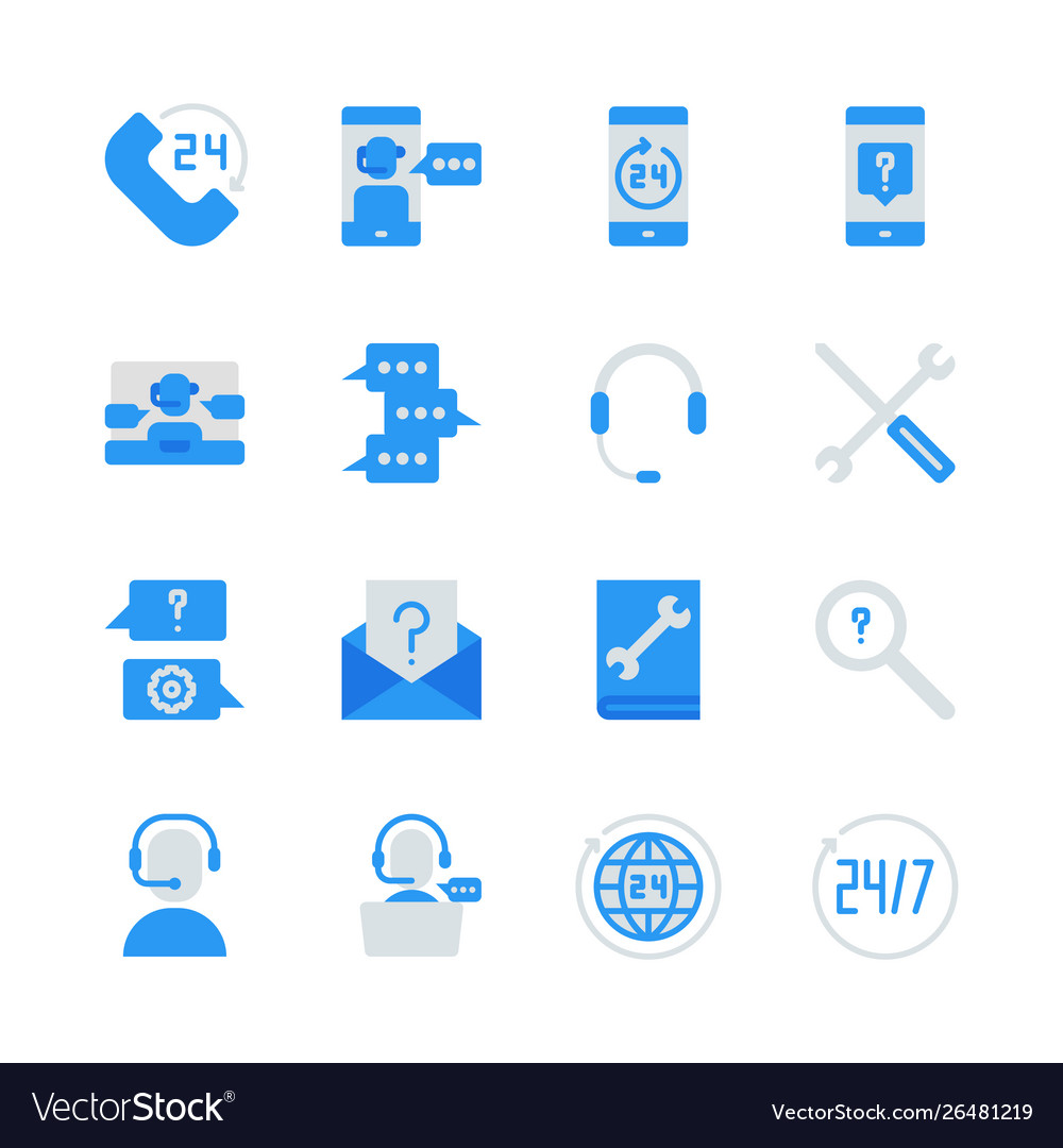 Call center and support in flat icon set