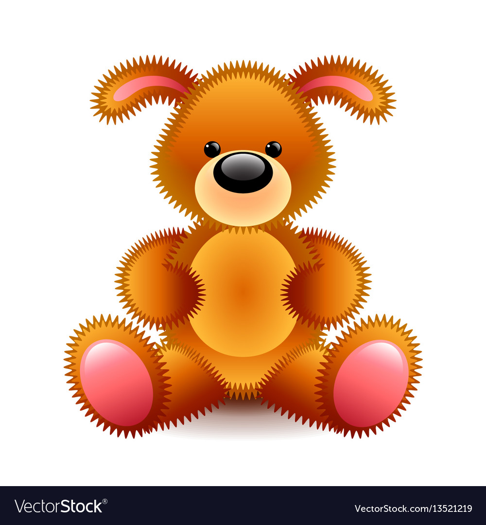 Cute brown dog soft toy isolated on white vector image