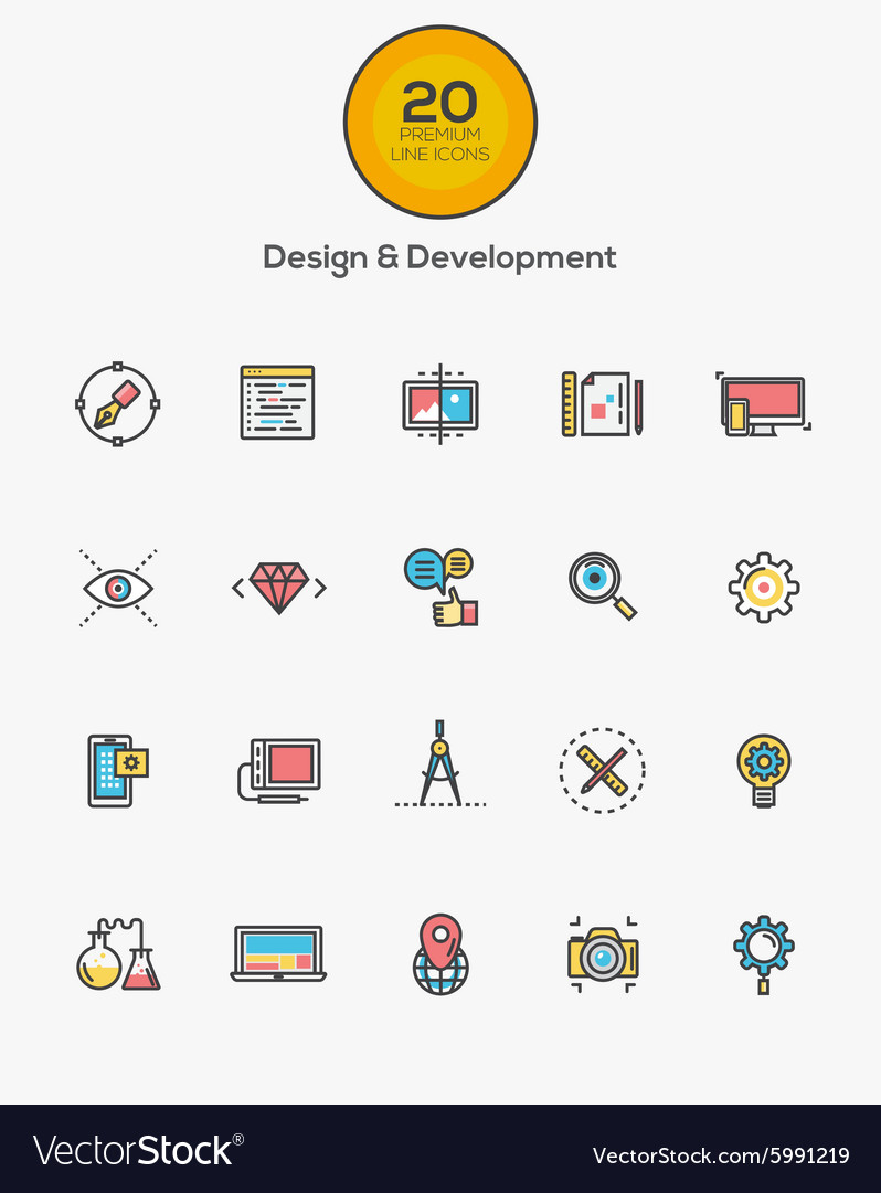 Flat line color icons Design and Development