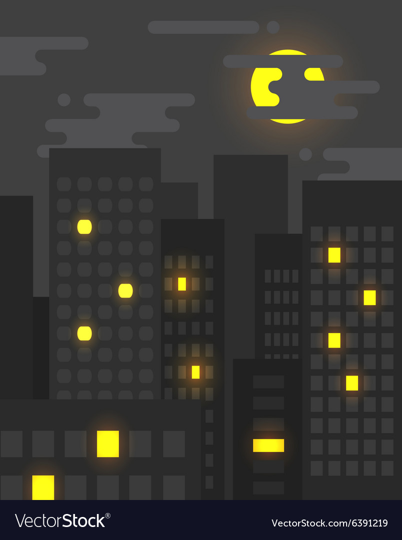 Flat style cityscape at night