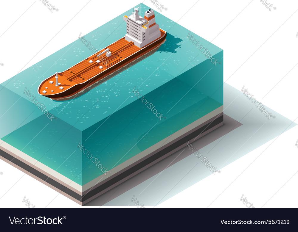Isometric oil tanker ship vector image