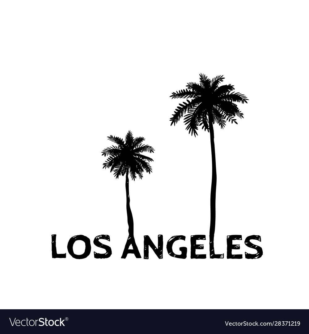 Los Angeles Symbol Line Drawing With Palm Tree Vector Image