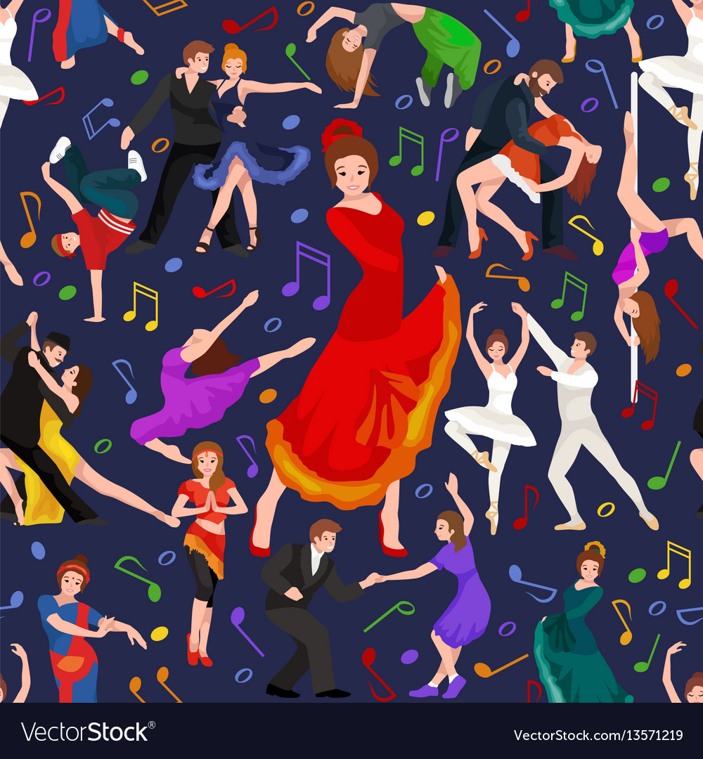 Seamless pattern dancing people dancer bachata