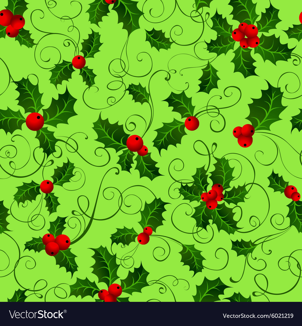 Seamless pattern with holly berries