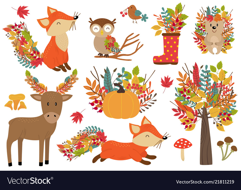 Set of isolated forest animals and autumn plants