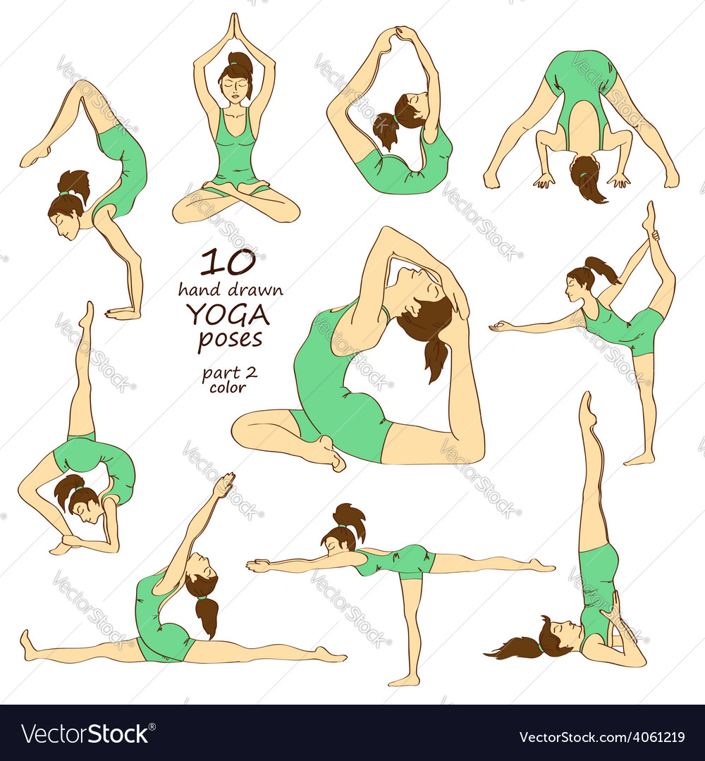 Set of isolated yoga poses