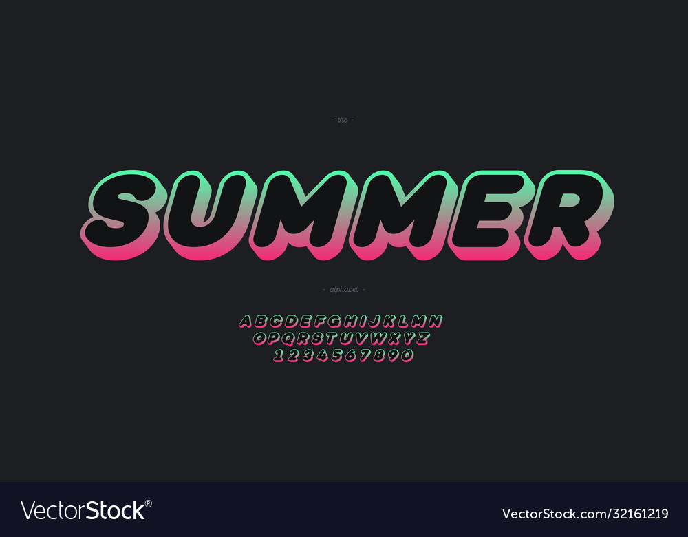 Summer font 3d bold gradient color style